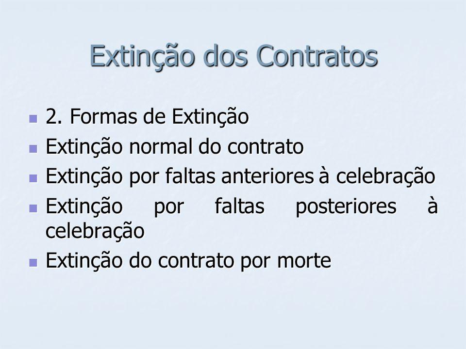 Extinção dos Contratos 2. Formas de Extinção 2. Formas de Extinção Extinção normal do contrato Extinção normal do contrato Extinção por faltas anterio