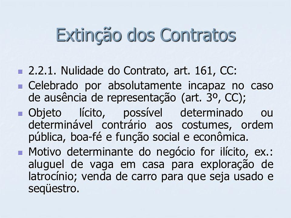 Extinção dos Contratos 2.2.1. Nulidade do Contrato, art. 161, CC: 2.2.1. Nulidade do Contrato, art. 161, CC: Celebrado por absolutamente incapaz no ca