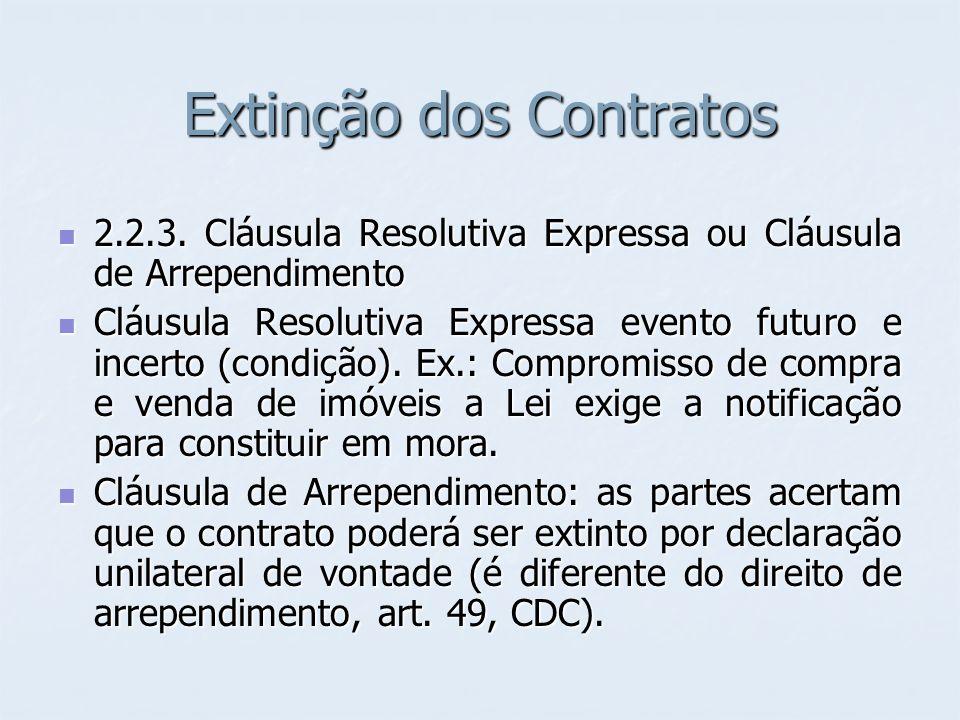 Extinção dos Contratos 2.2.3. Cláusula Resolutiva Expressa ou Cláusula de Arrependimento 2.2.3. Cláusula Resolutiva Expressa ou Cláusula de Arrependim