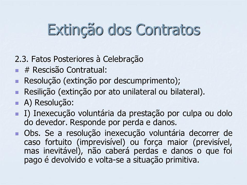 Extinção dos Contratos 2.3. Fatos Posteriores à Celebração # Rescisão Contratual: # Rescisão Contratual: Resolução (extinção por descumprimento); Reso