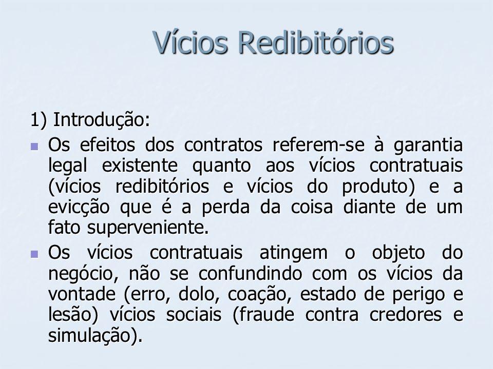 Vícios Redibitórios 2) Vícios Redibitórios no Código Civil Os vícios redibitórios são defeitos que desvalorizam a coisa ou a tornam imprópria para uso.
