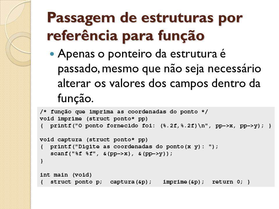 Passagem de estruturas por referência para função Apenas o ponteiro da estrutura é passado, mesmo que não seja necessário alterar os valores dos campo