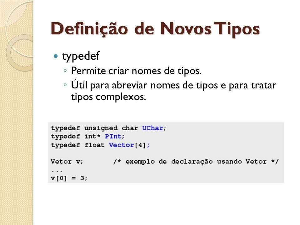 Definição de Novos Tipos typedef Permite criar nomes de tipos. Útil para abreviar nomes de tipos e para tratar tipos complexos.