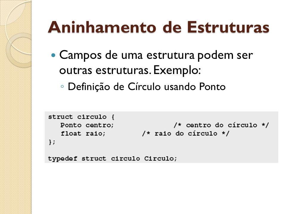 Aninhamento de Estruturas Campos de uma estrutura podem ser outras estruturas. Exemplo: Definição de Círculo usando Ponto