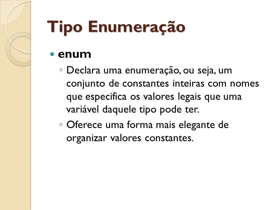 Tipo Enumeração enum Declara uma enumeração, ou seja, um conjunto de constantes inteiras com nomes que especifica os valores legais que uma variável d