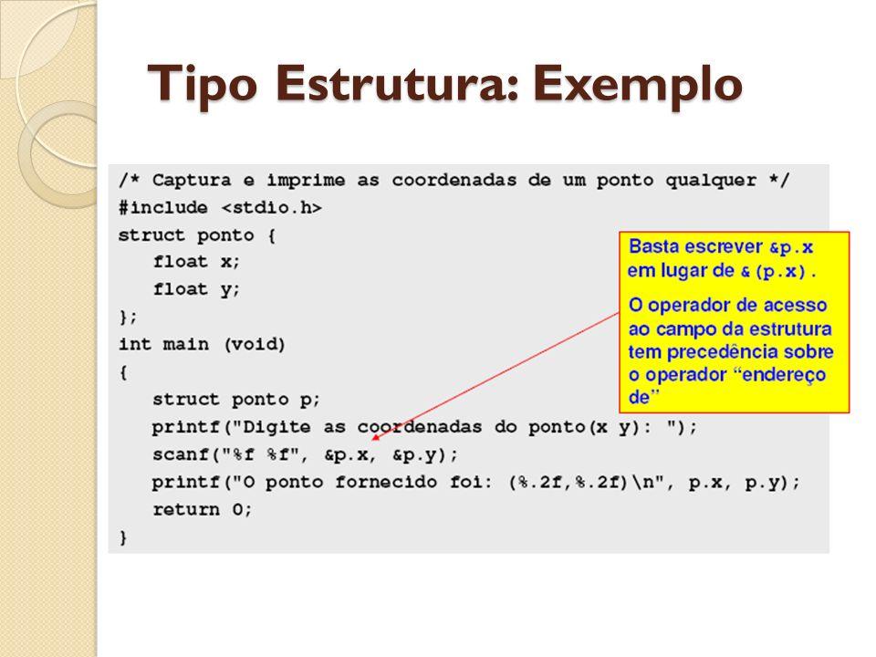 Ponteiro de estruturas Acesso ao valor de um campo x de uma variável estrutura p: p.x Acesso ao valor de um campo x de uma variável ponteiro pp: pp->x Acesso ao endereço do campo x de uma variável ponteiro pp: &(pp->x)