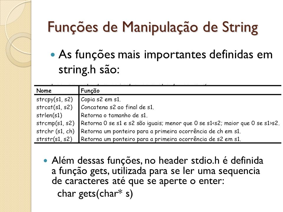 Funções de Manipulação de String As funções mais importantes definidas em string.h são: Além dessas funções, no header stdio.h é definida a função gets, utilizada para se ler uma sequencia de caracteres até que se aperte o enter: char gets(char* s)