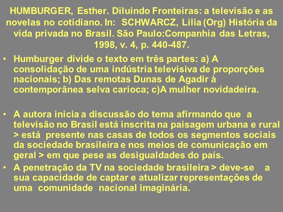 HUMBURGER, Esther. Diluindo Fronteiras: a televisão e as novelas no cotidiano. In: SCHWARCZ, Lilia (Org) História da vida privada no Brasil. São Paulo