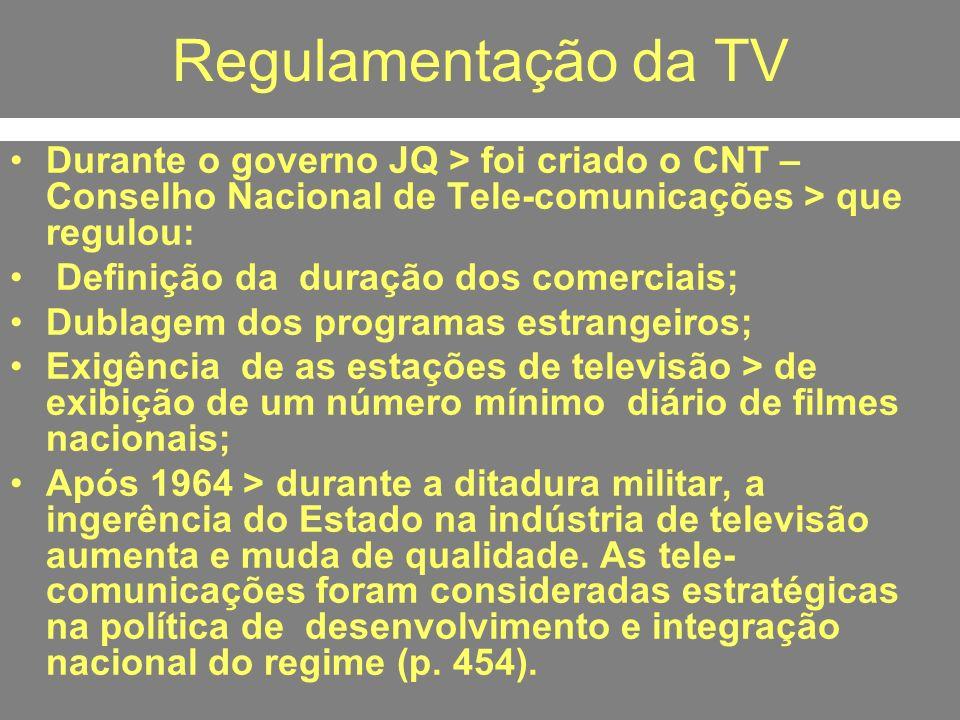 Regulamentação da TV Durante o governo JQ > foi criado o CNT – Conselho Nacional de Tele-comunicações > que regulou: Definição da duração dos comercia