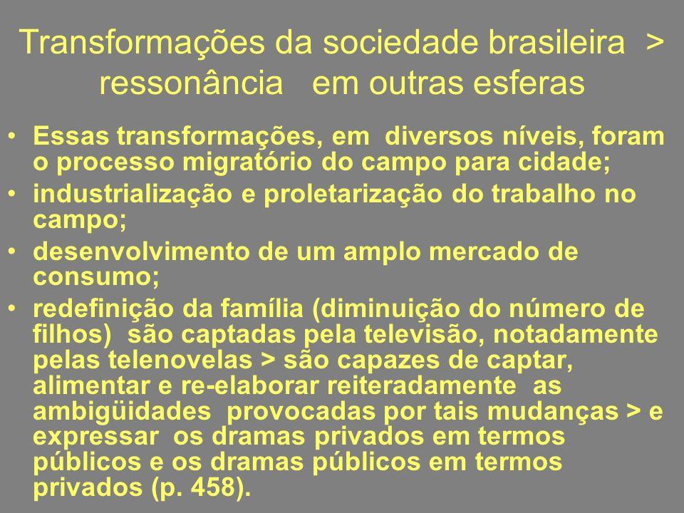Transformações da sociedade brasileira > ressonância em outras esferas Essas transformações, em diversos níveis, foram o processo migratório do campo