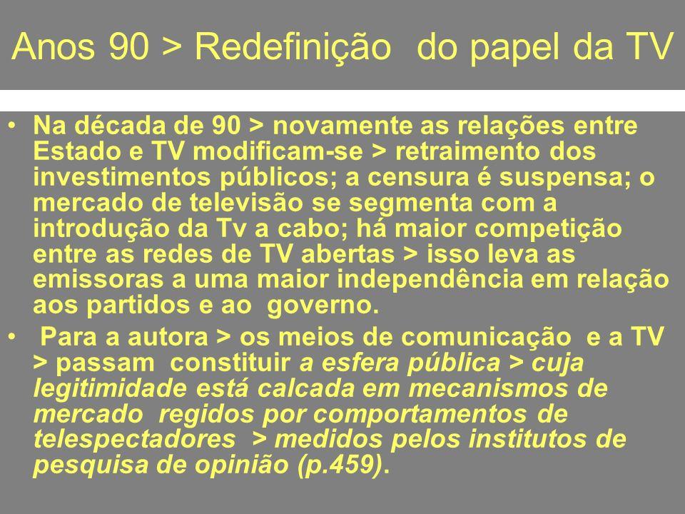Anos 90 > Redefinição do papel da TV Na década de 90 > novamente as relações entre Estado e TV modificam-se > retraimento dos investimentos públicos;