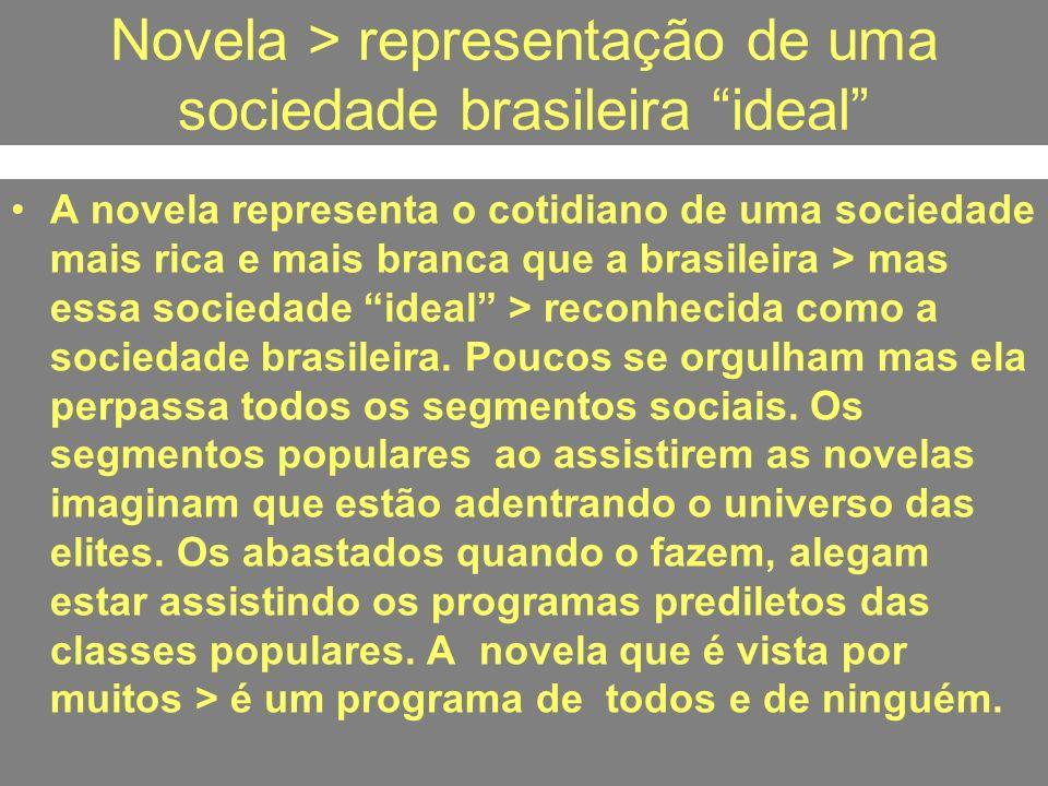 Novela > representação de uma sociedade brasileira ideal A novela representa o cotidiano de uma sociedade mais rica e mais branca que a brasileira > m