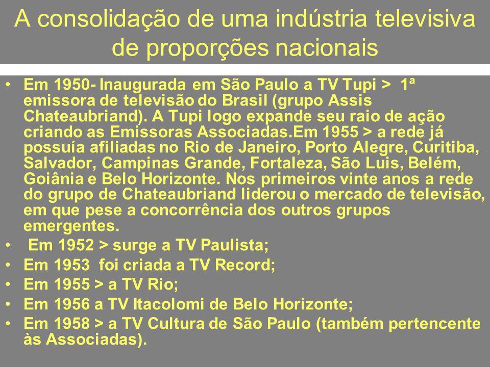 A consolidação de uma indústria televisiva de proporções nacionais Em 1950- Inaugurada em São Paulo a TV Tupi > 1ª emissora de televisão do Brasil (gr