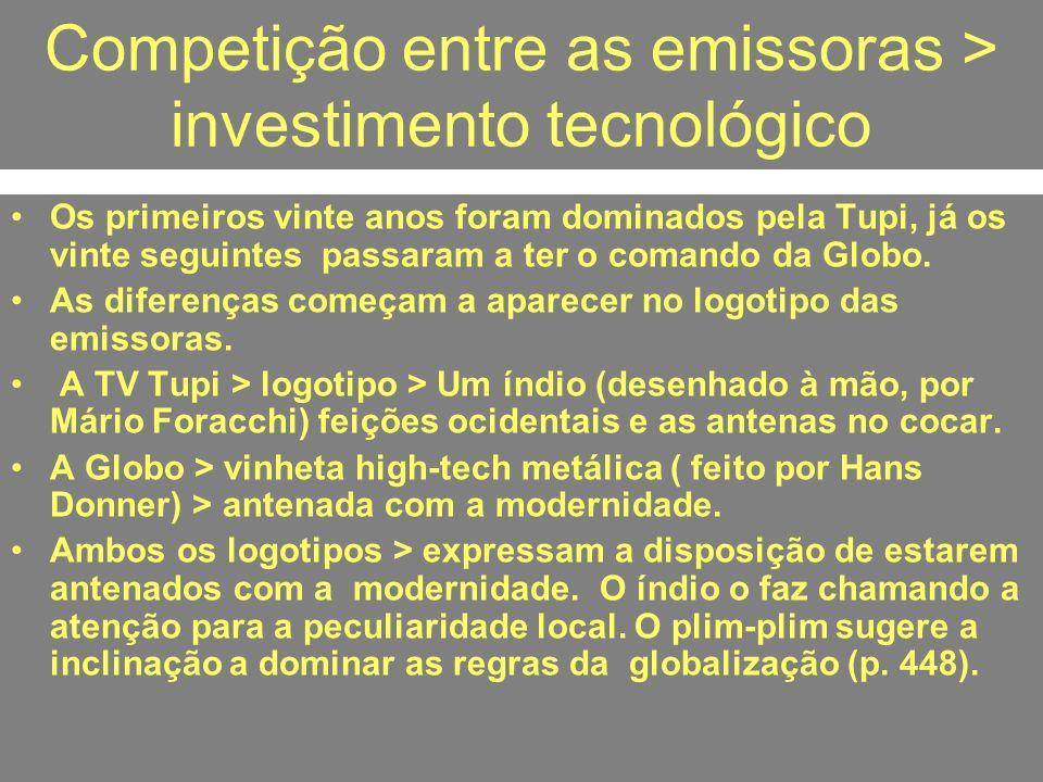 Competição entre as emissoras > investimento tecnológico Os primeiros vinte anos foram dominados pela Tupi, já os vinte seguintes passaram a ter o com