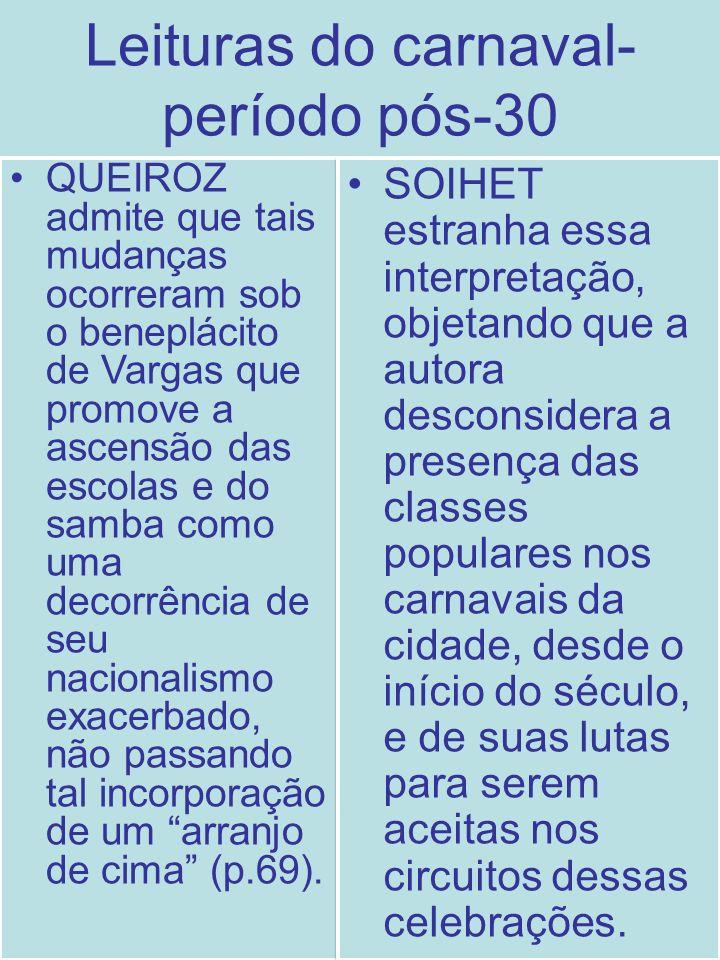 Leituras do carnaval- período pós-30 QUEIROZ admite que tais mudanças ocorreram sob o beneplácito de Vargas que promove a ascensão das escolas e do sa