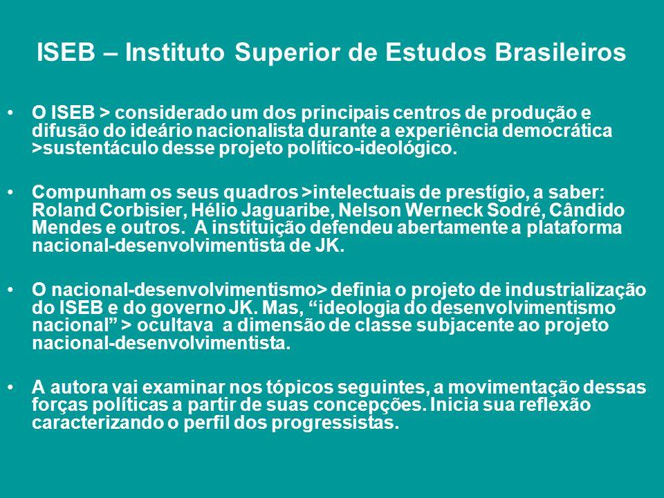 ISEB – Instituto Superior de Estudos Brasileiros O ISEB > considerado um dos principais centros de produção e difusão do ideário nacionalista durante