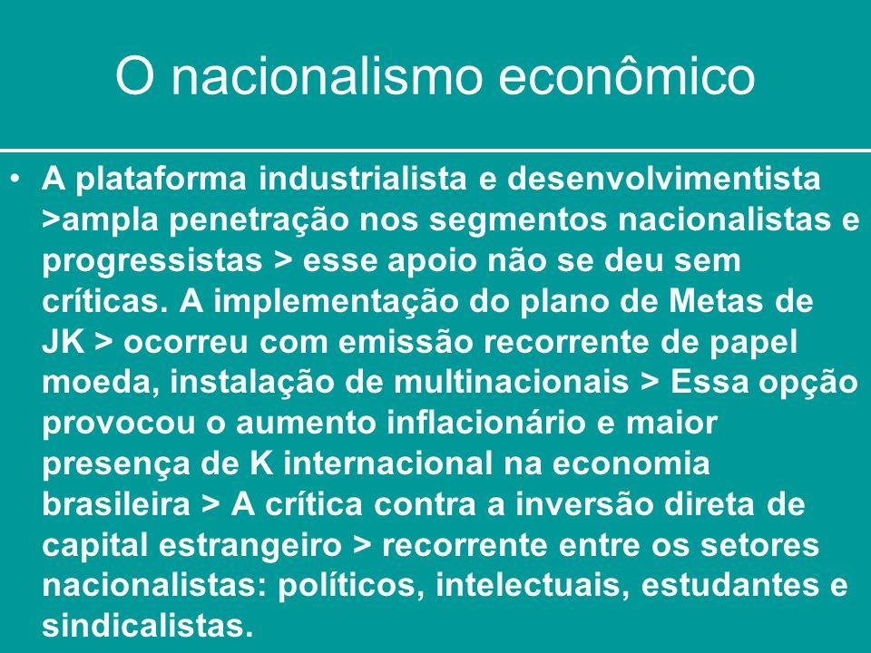 O nacionalismo econômico A plataforma industrialista e desenvolvimentista >ampla penetração nos segmentos nacionalistas e progressistas > esse apoio n