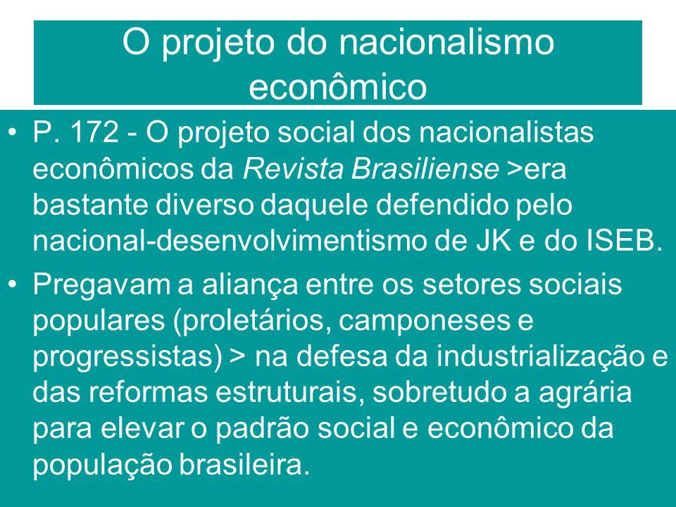 O projeto do nacionalismo econômico P. 172 - O projeto social dos nacionalistas econômicos da Revista Brasiliense >era bastante diverso daquele defend