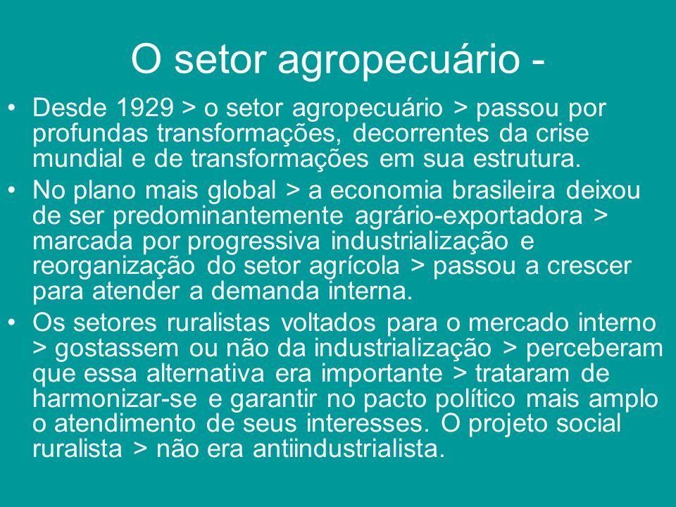 O setor agropecuário - Desde 1929 > o setor agropecuário > passou por profundas transformações, decorrentes da crise mundial e de transformações em su