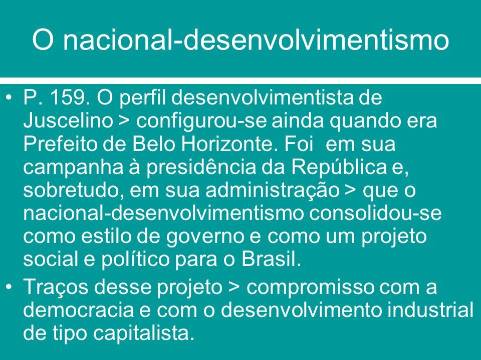 O Programa de governo de JK –assumiu a linguagem desenvolvimentista O Plano de Metas (programa de governo) > era um documento essencialmente econômico.Dividiu-se em 30 metas, distribuídas por setores, a saber: 1.