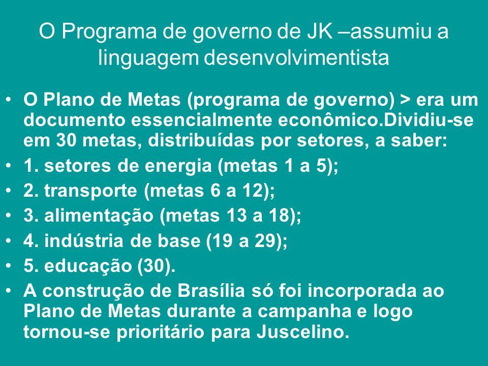 O Programa de governo de JK –assumiu a linguagem desenvolvimentista O Plano de Metas (programa de governo) > era um documento essencialmente econômico