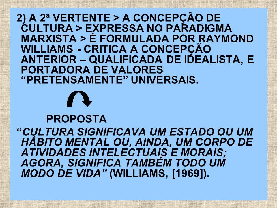 3) A 3ª VERTENTE >APRESENTA-SE COMO CULTURAS NO PLURAL > PARADIGMA PÓS-MODERNO >NOVAS MUDANÇAS NA SOCIEDADE SÃO ACOMPANHADAS DE ALTERAÇÕES NA ETIMOLOGIA DA PALAVRA CULTURA, QUE PASSA A SER DEFINIDA COMO CULTURAS, NO PLURAL.