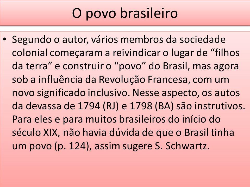O povo brasileiro Segundo o autor, vários membros da sociedade colonial começaram a reivindicar o lugar de filhos da terra e construir o povo do Brasi
