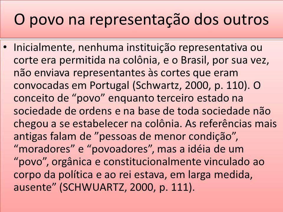 O povo na representação dos outros Inicialmente, nenhuma instituição representativa ou corte era permitida na colônia, e o Brasil, por sua vez, não en