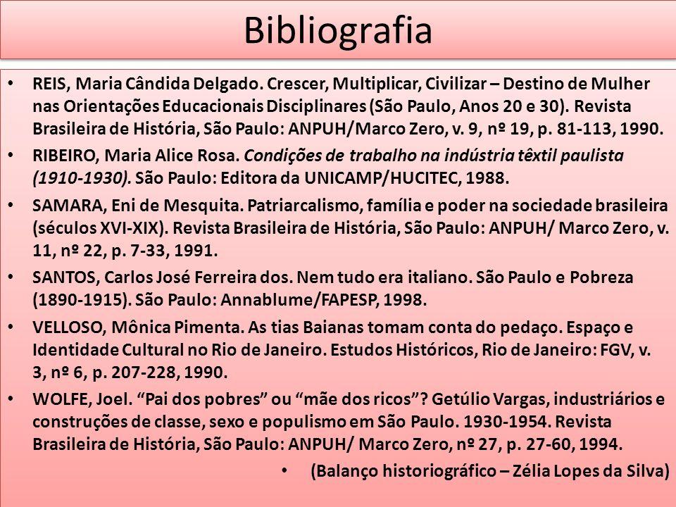 Bibliografia REIS, Maria Cândida Delgado. Crescer, Multiplicar, Civilizar – Destino de Mulher nas Orientações Educacionais Disciplinares (São Paulo, A