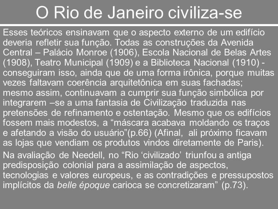 O Rio de Janeiro civiliza-se Esses teóricos ensinavam que o aspecto externo de um edifício deveria refletir sua função. Todas as construções da Avenid