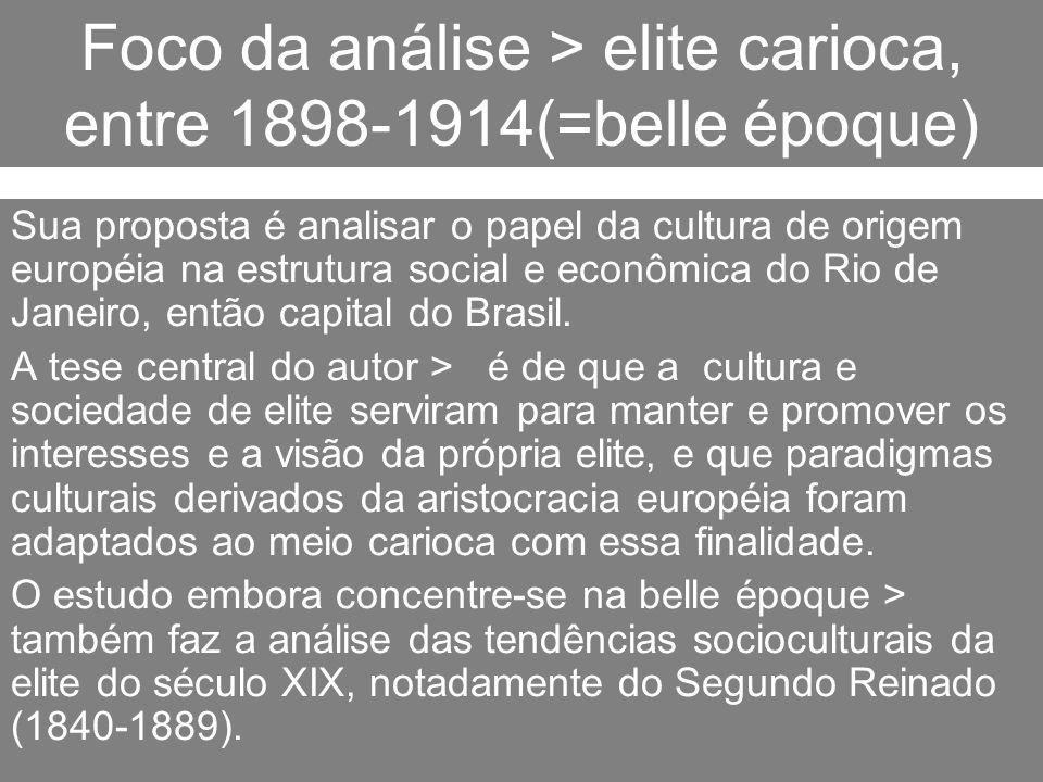Foco da análise > elite carioca, entre 1898-1914(=belle époque) Sua proposta é analisar o papel da cultura de origem européia na estrutura social e ec