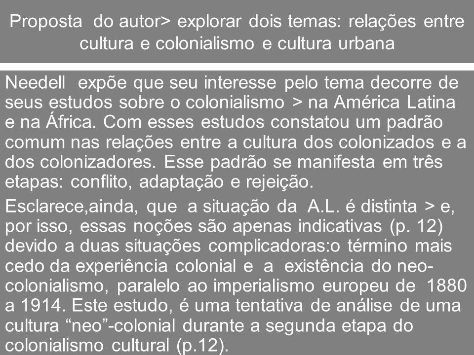 Cultura urbana > e ideologia O autor insiste que seu interesse é saber > o impacto da aceitação e adaptação da cultura metropolitana (européia) > no período de sua maior influência no país.