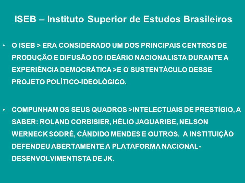 ISEB – Instituto Superior de Estudos Brasileiros O ISEB > ERA CONSIDERADO UM DOS PRINCIPAIS CENTROS DE PRODUÇÃO E DIFUSÃO DO IDEÁRIO NACIONALISTA DURA