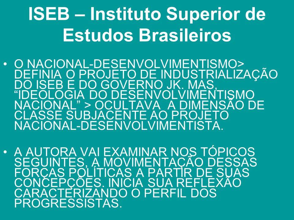 ISEB – Instituto Superior de Estudos Brasileiros O NACIONAL-DESENVOLVIMENTISMO> DEFINIA O PROJETO DE INDUSTRIALIZAÇÃO DO ISEB E DO GOVERNO JK. MAS, ID
