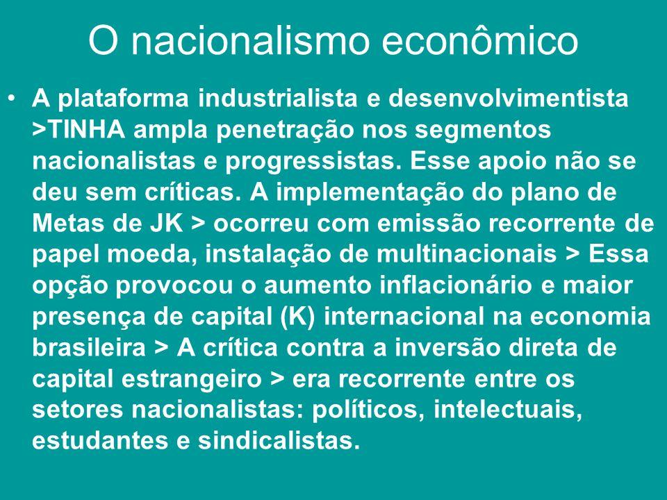 O nacionalismo econômico A plataforma industrialista e desenvolvimentista >TINHA ampla penetração nos segmentos nacionalistas e progressistas. Esse ap