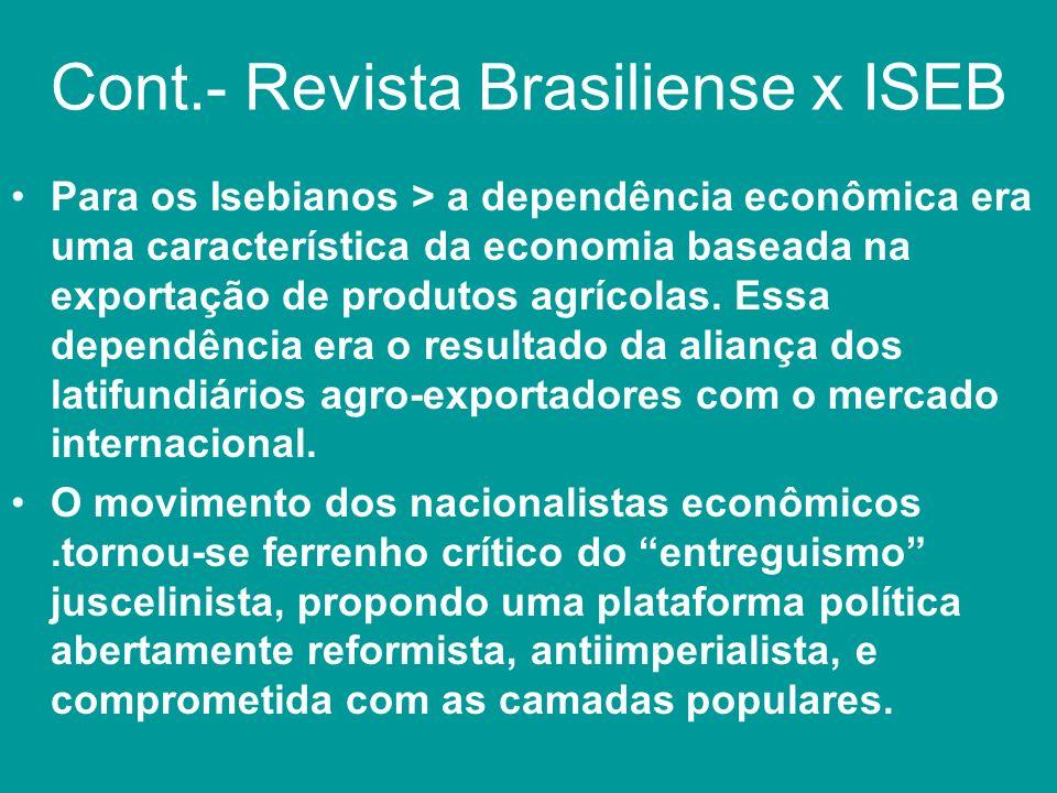 Cont.- Revista Brasiliense x ISEB Para os Isebianos > a dependência econômica era uma característica da economia baseada na exportação de produtos agr