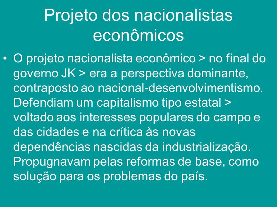 Projeto dos nacionalistas econômicos O projeto nacionalista econômico > no final do governo JK > era a perspectiva dominante, contraposto ao nacional-