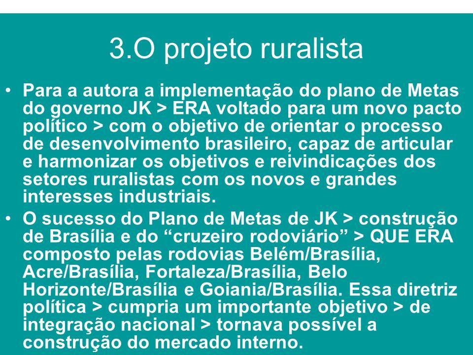 3.O projeto ruralista Para a autora a implementação do plano de Metas do governo JK > ERA voltado para um novo pacto político > com o objetivo de orie