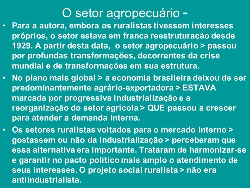 O setor agropecuário - Para a autora, embora os ruralistas tivessem interesses próprios, o setor estava em franca reestruturação desde 1929. A partir
