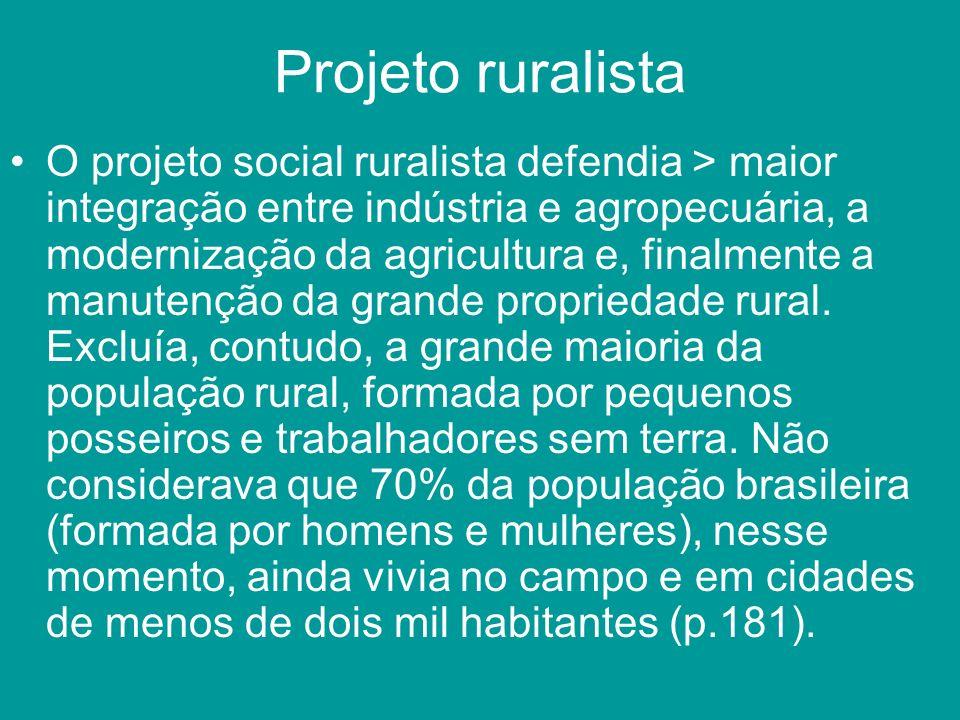 Projeto ruralista O projeto social ruralista defendia > maior integração entre indústria e agropecuária, a modernização da agricultura e, finalmente a
