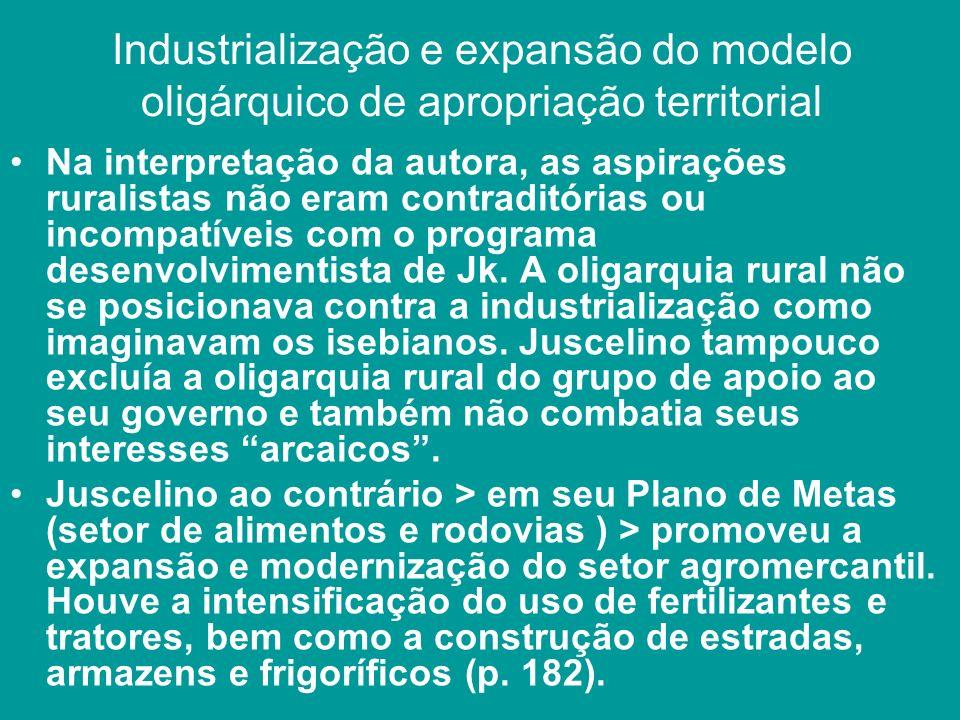 Industrialização e expansão do modelo oligárquico de apropriação territorial Na interpretação da autora, as aspirações ruralistas não eram contraditór