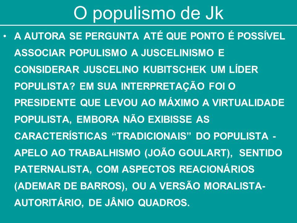 O populismo de Jk A AUTORA SE PERGUNTA ATÉ QUE PONTO É POSSÍVEL ASSOCIAR POPULISMO A JUSCELINISMO E CONSIDERAR JUSCELINO KUBITSCHEK UM LÍDER POPULISTA