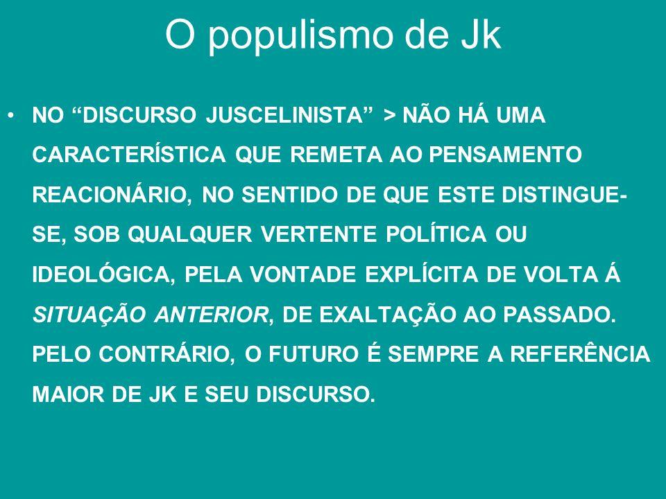 O populismo de Jk NO DISCURSO JUSCELINISTA > NÃO HÁ UMA CARACTERÍSTICA QUE REMETA AO PENSAMENTO REACIONÁRIO, NO SENTIDO DE QUE ESTE DISTINGUE- SE, SOB