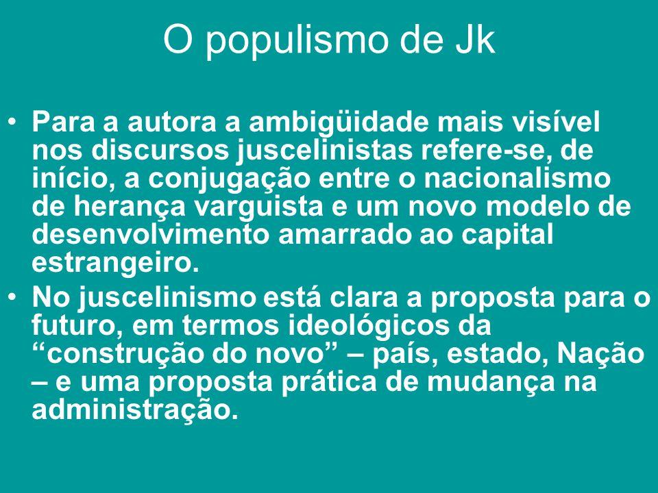 O populismo de Jk Para a autora a ambigüidade mais visível nos discursos juscelinistas refere-se, de início, a conjugação entre o nacionalismo de hera
