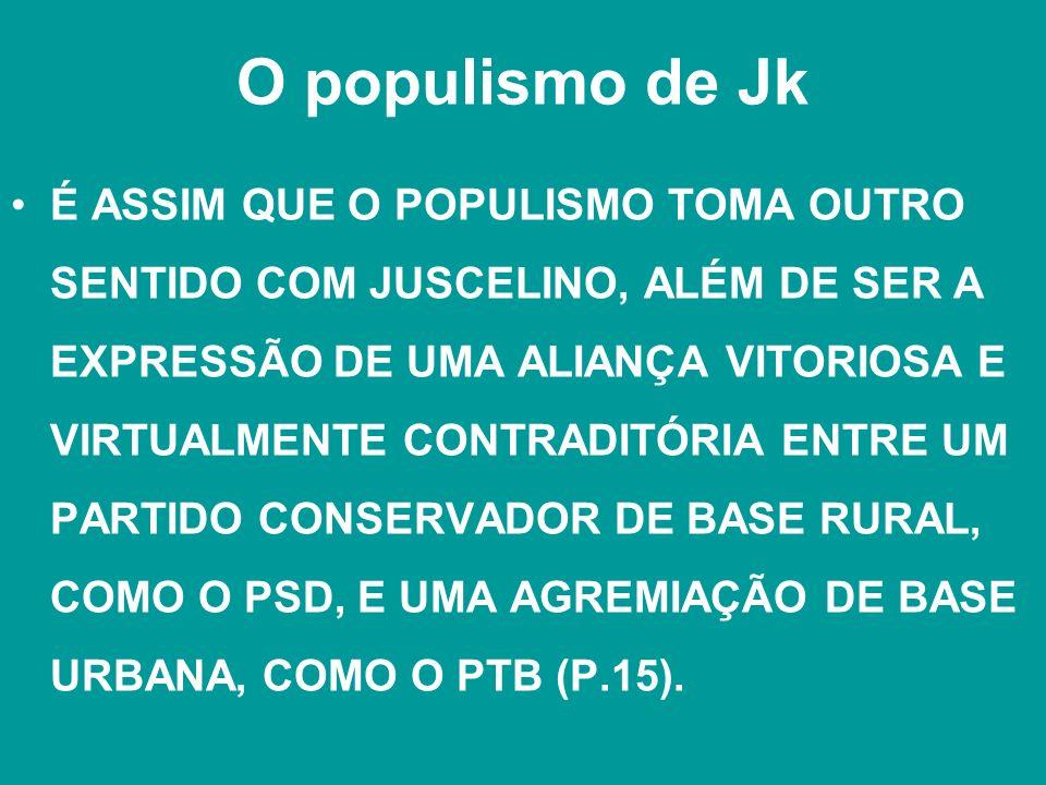 O populismo de Jk É ASSIM QUE O POPULISMO TOMA OUTRO SENTIDO COM JUSCELINO, ALÉM DE SER A EXPRESSÃO DE UMA ALIANÇA VITORIOSA E VIRTUALMENTE CONTRADITÓ
