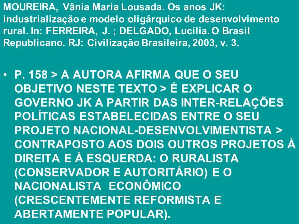 MOUREIRA, Vânia Maria Lousada. Os anos JK: industrialização e modelo oligárquico de desenvolvimento rural. In: FERREIRA, J. ; DELGADO, Lucília. O Bras