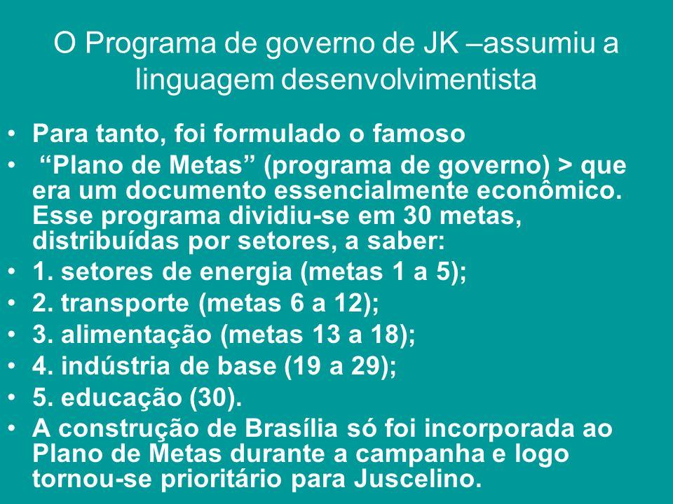 O Programa de governo de JK –assumiu a linguagem desenvolvimentista Para tanto, foi formulado o famoso Plano de Metas (programa de governo) > que era