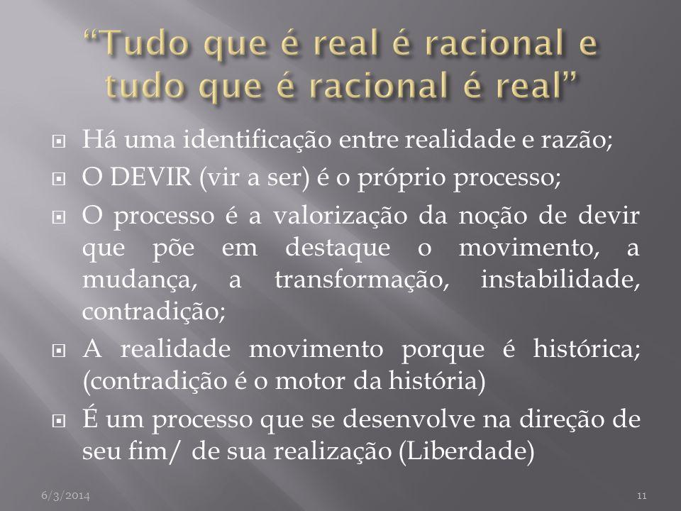 Há uma identificação entre realidade e razão; O DEVIR (vir a ser) é o próprio processo; O processo é a valorização da noção de devir que põe em destaq