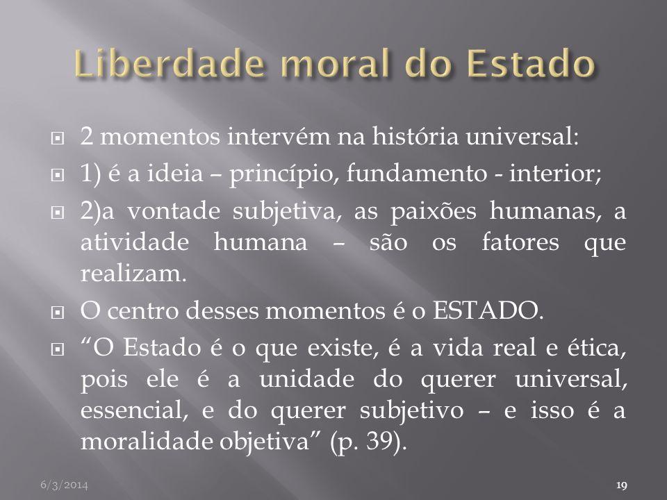 2 momentos intervém na história universal: 1) é a ideia – princípio, fundamento - interior; 2)a vontade subjetiva, as paixões humanas, a atividade hum