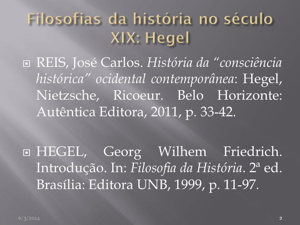 REIS, José Carlos. História da consciência histórica ocidental contemporânea : Hegel, Nietzsche, Ricoeur. Belo Horizonte: Autêntica Editora, 2011, p.